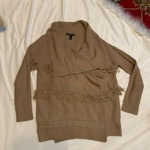 Forever 21 tan fringe sweater size small